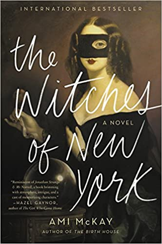 Cover of The Witches of NY shows a sepia photograph of a Victorian woman with a black box over her face, only revealing her left eye