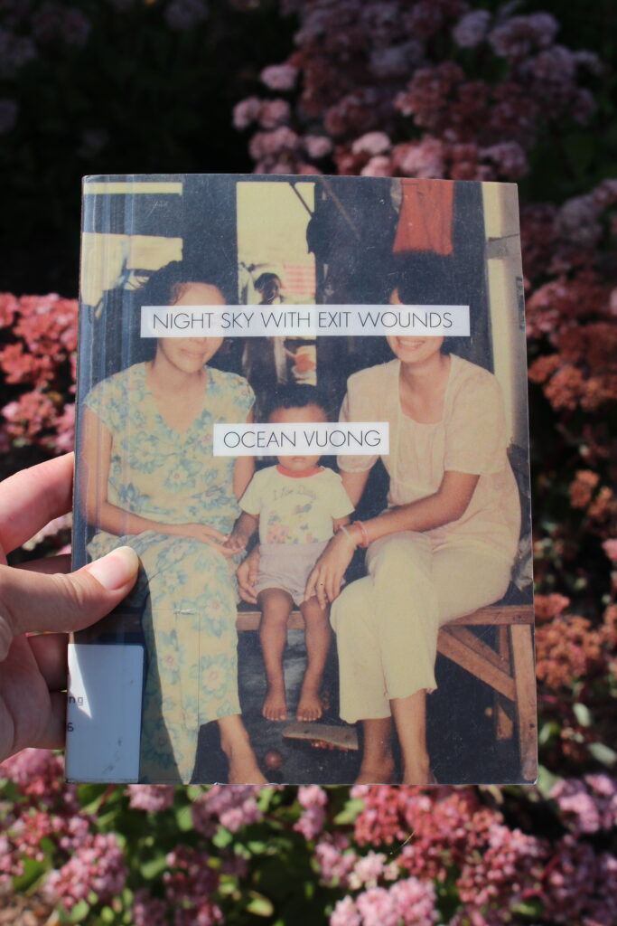 Cover of Night Sky with Exit Wounds shows a photo of a grandmother, mother and son